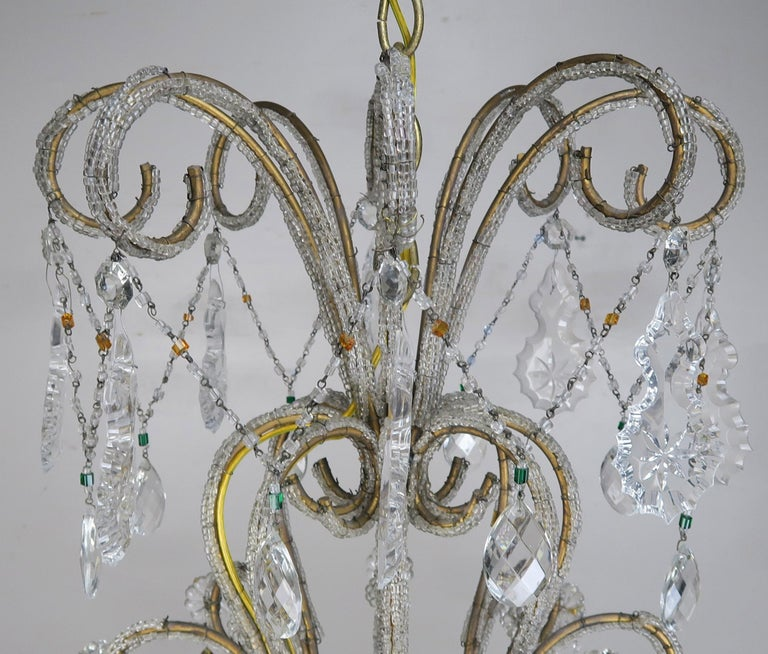 Rococo Eight Light Italian Crystal Beaded Chandelier with Smokey Drops For Sale