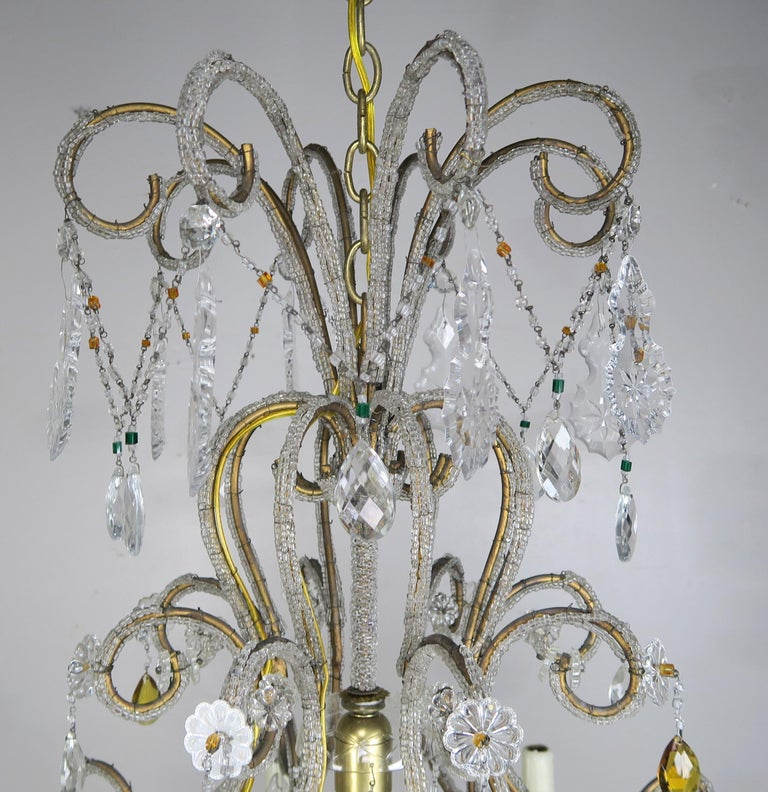 Mid-20th Century Eight Light Italian Crystal Beaded Chandelier with Smokey Drops For Sale