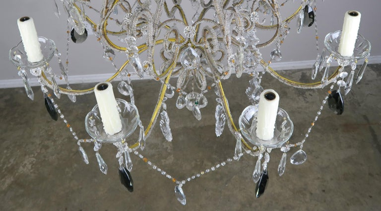 Eight Light Italian Crystal Beaded Chandelier with Smokey Drops For Sale 1