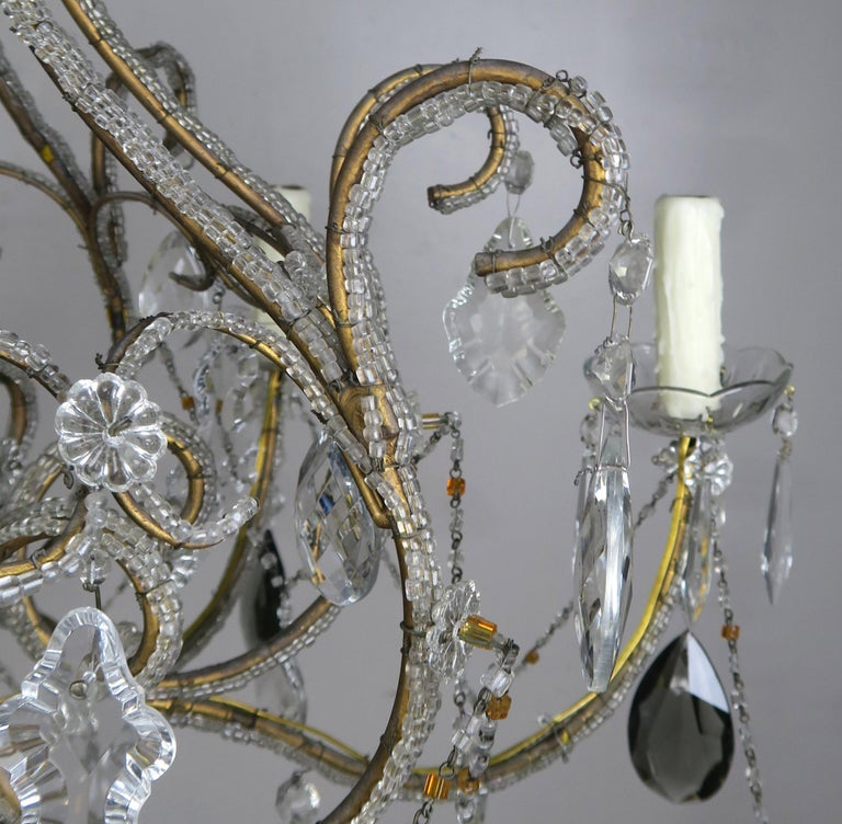 Eight Light Italian Crystal Beaded Chandelier with Smokey Drops For Sale 2