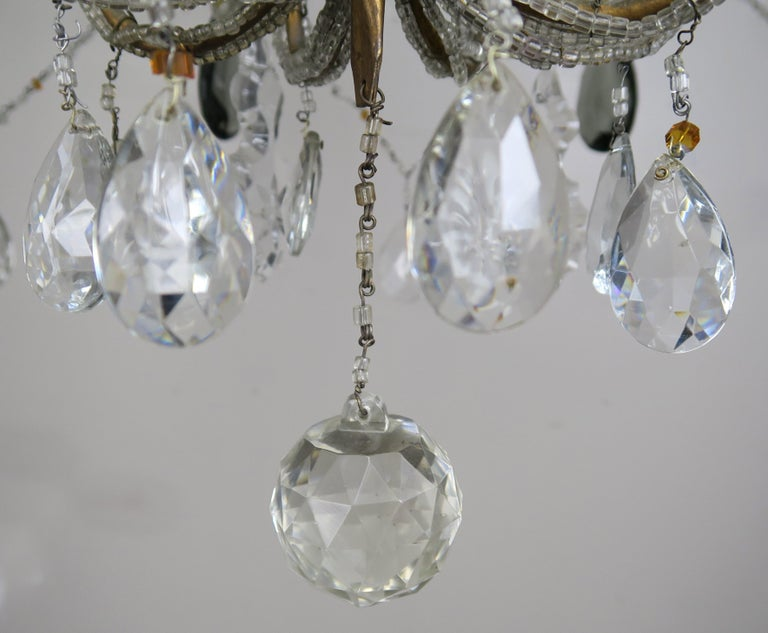 Eight Light Italian Crystal Beaded Chandelier with Smokey Drops For Sale 3