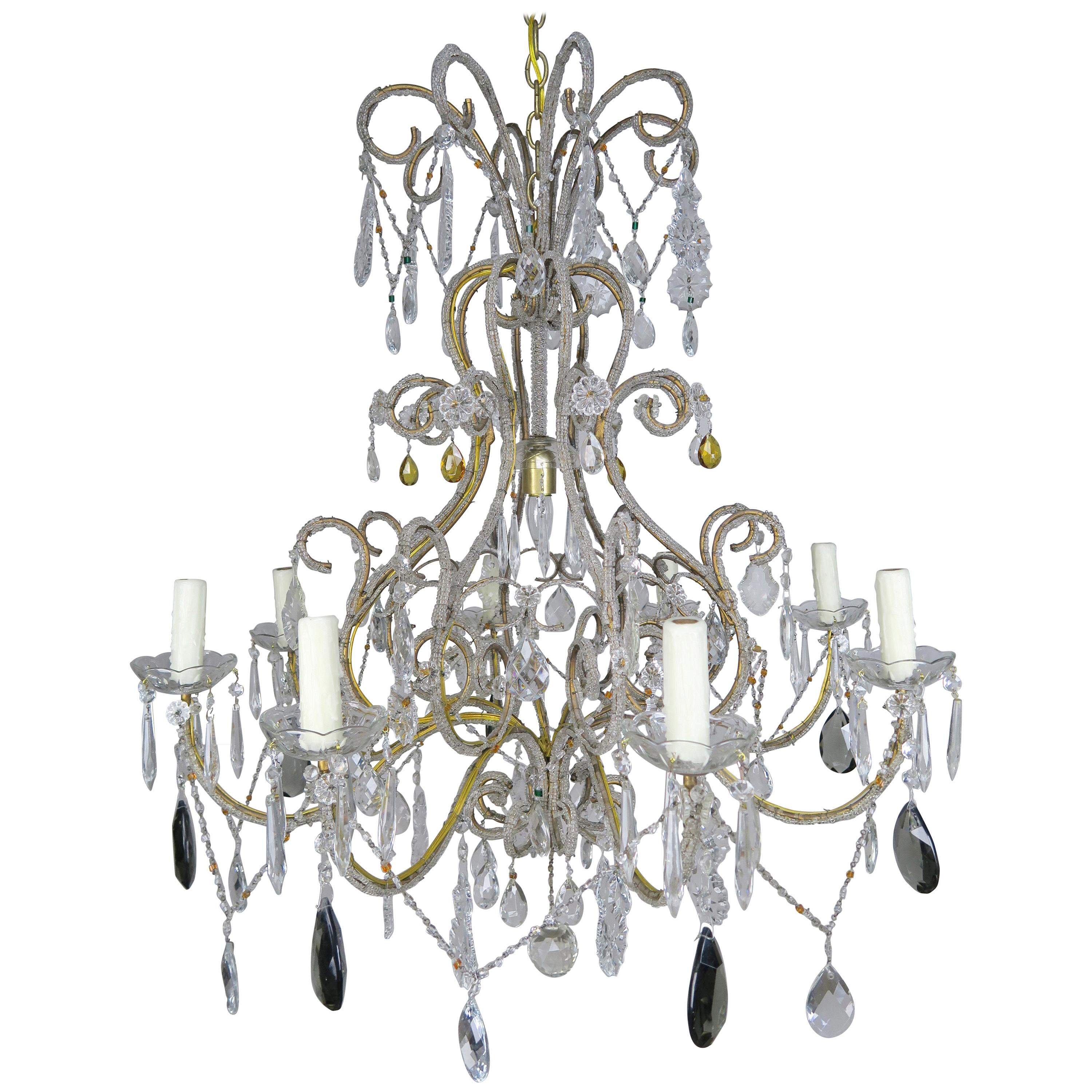 Eight Light Italian Crystal Beaded Chandelier with Smokey Drops