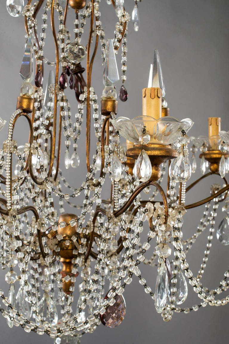 Eight-Light Italian Crystal Chandelier with Giltwood Bobeches For Sale 5