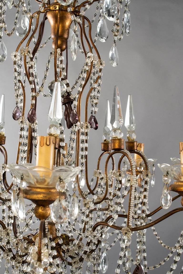 Eight-Light Italian Crystal Chandelier with Giltwood Bobeches For Sale 7