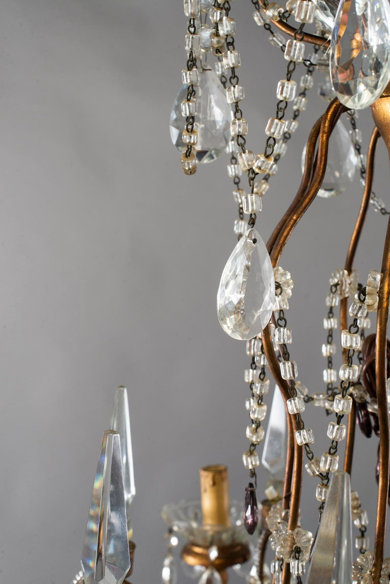 Eight-Light Italian Crystal Chandelier with Giltwood Bobeches For Sale 8