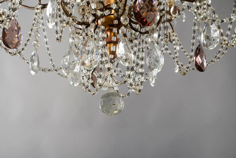 Eight-Light Italian Crystal Chandelier with Giltwood Bobeches For Sale 9