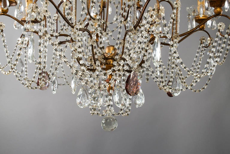 Eight-Light Italian Crystal Chandelier with Giltwood Bobeches For Sale 10