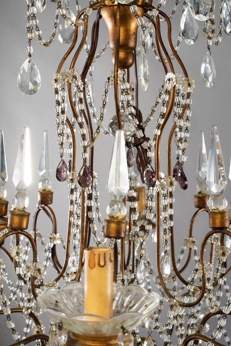 Eight-Light Italian Crystal Chandelier with Giltwood Bobeches For Sale 11