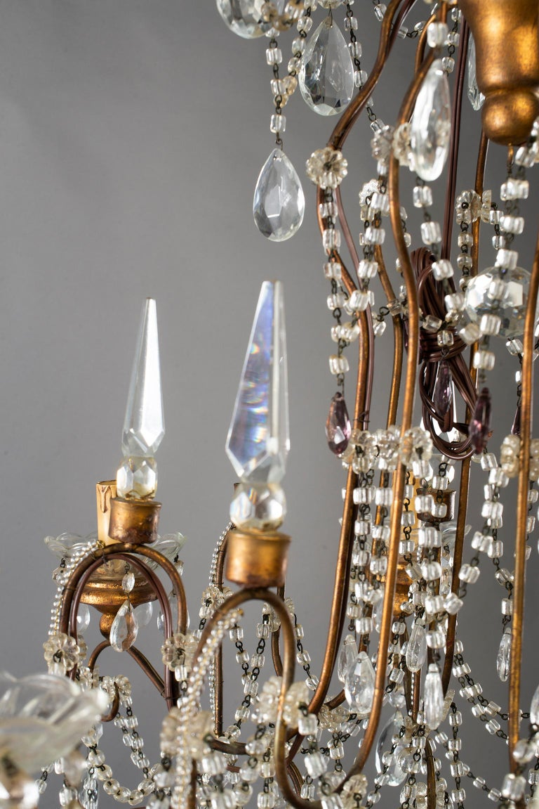 Eight-Light Italian Crystal Chandelier with Giltwood Bobeches For Sale 13