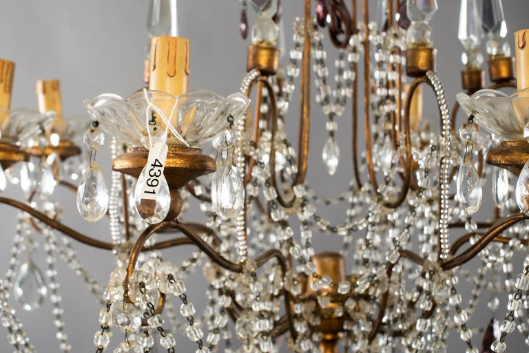 Eight-Light Italian Crystal Chandelier with Giltwood Bobeches In Excellent Condition For Sale In Troy, MI