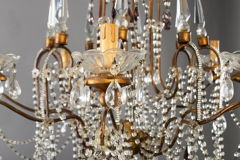 20th Century Eight-Light Italian Crystal Chandelier with Giltwood Bobeches For Sale