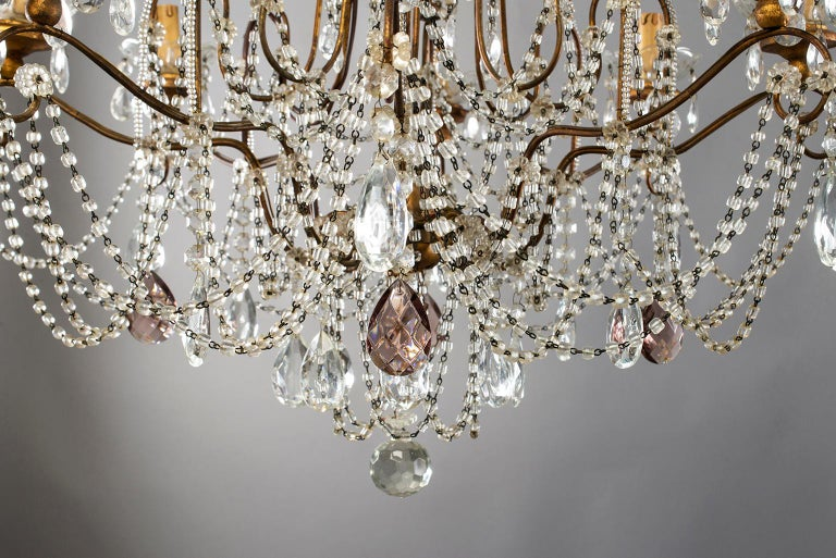 Eight-Light Italian Crystal Chandelier with Giltwood Bobeches For Sale 3