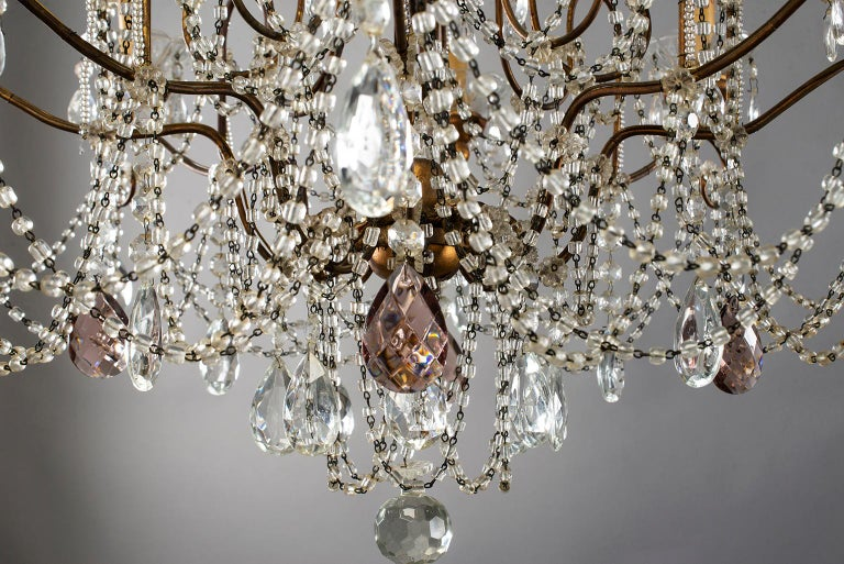 Eight-Light Italian Crystal Chandelier with Giltwood Bobeches For Sale 4