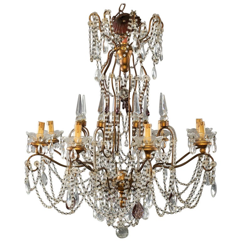 Eight-Light Italian Crystal Chandelier with Giltwood Bobeches For Sale