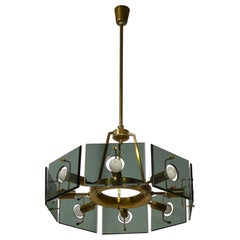 Eight-Light Italian Smoked Glass and Brass Chandelier by Cristal Art, 1960s