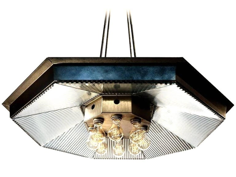 Industrial Eight-Light Reflector Chandelier For Sale