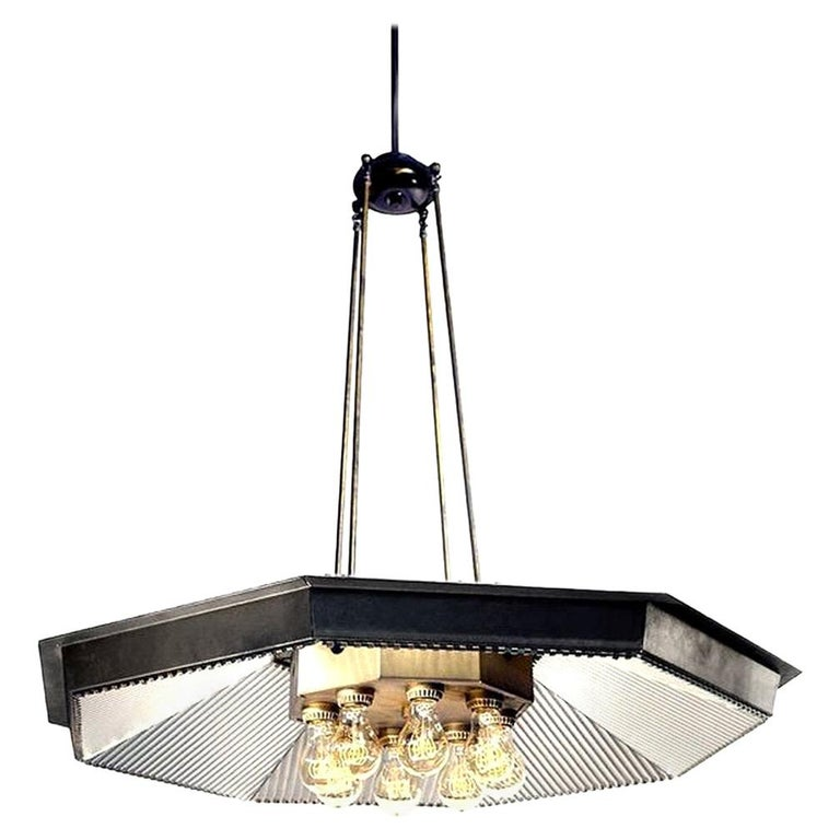 Eight-Light Reflector Chandelier For Sale
