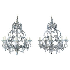 Eight-Light Wood Beaded Blue and Cream Painted Chandeliers, Pair