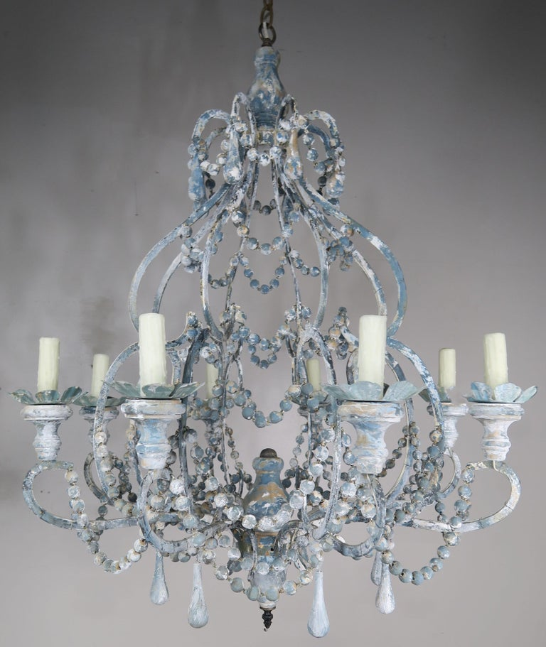 Eight-Light Wood Beaded Blue and Cream Painted Chandeliers, Pair For Sale 3