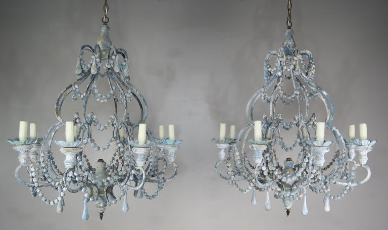 Eight-Light Wood Beaded Blue and Cream Painted Chandeliers, Pair For Sale 5