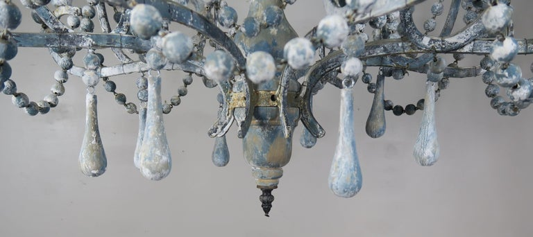 American Eight-Light Wood Beaded Blue and Cream Painted Chandeliers, Pair For Sale