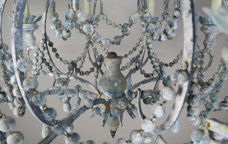 Hand-Painted Eight-Light Wood Beaded Blue and Cream Painted Chandeliers, Pair For Sale