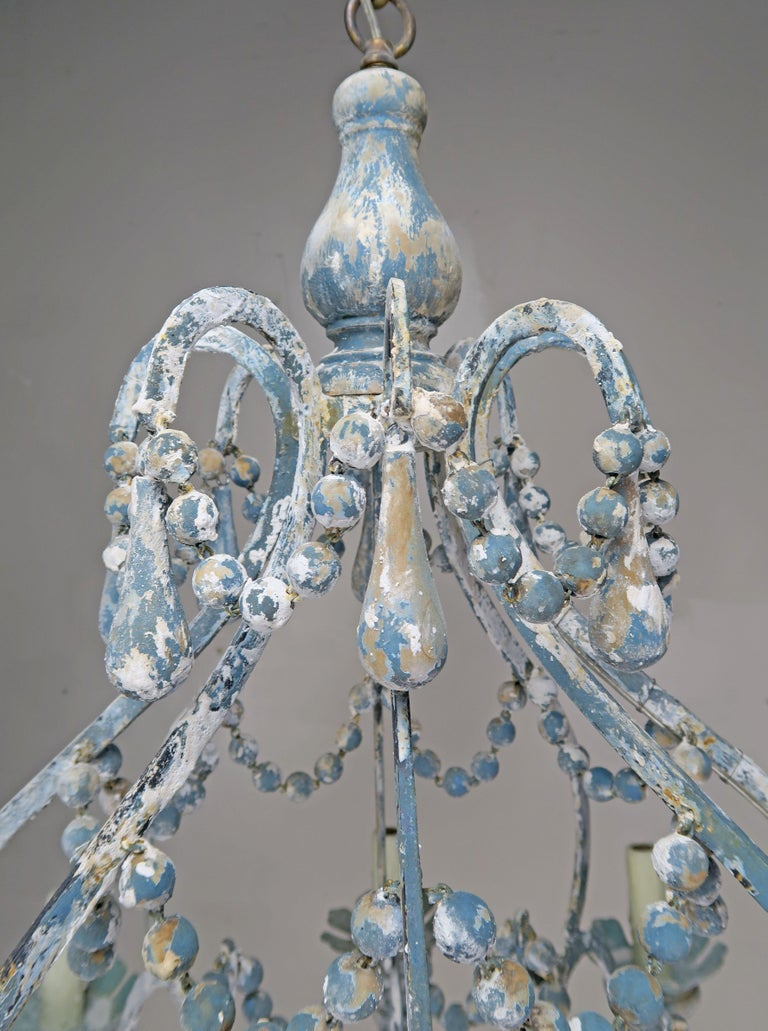 Eight-Light Wood Beaded Blue and Cream Painted Chandeliers, Pair For Sale 1