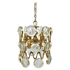 Eight Lights Chandelier Brass and Glass by Oscar Torlasco, Italy, 1960s