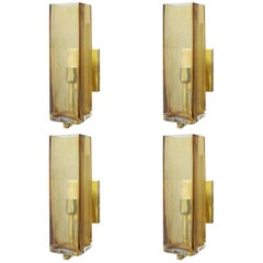 Eight Limited Edition Sconces with Amber Murano Glass, Italy, 1990s