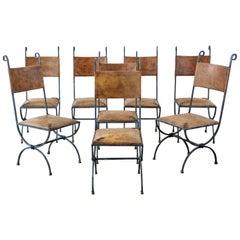 Eight Llana Goor Style Curule Leg Iron Leather Dining Chairs