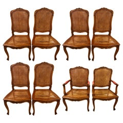 Eight Louis XV Style Country French Dining Chairs, Conference Chairs