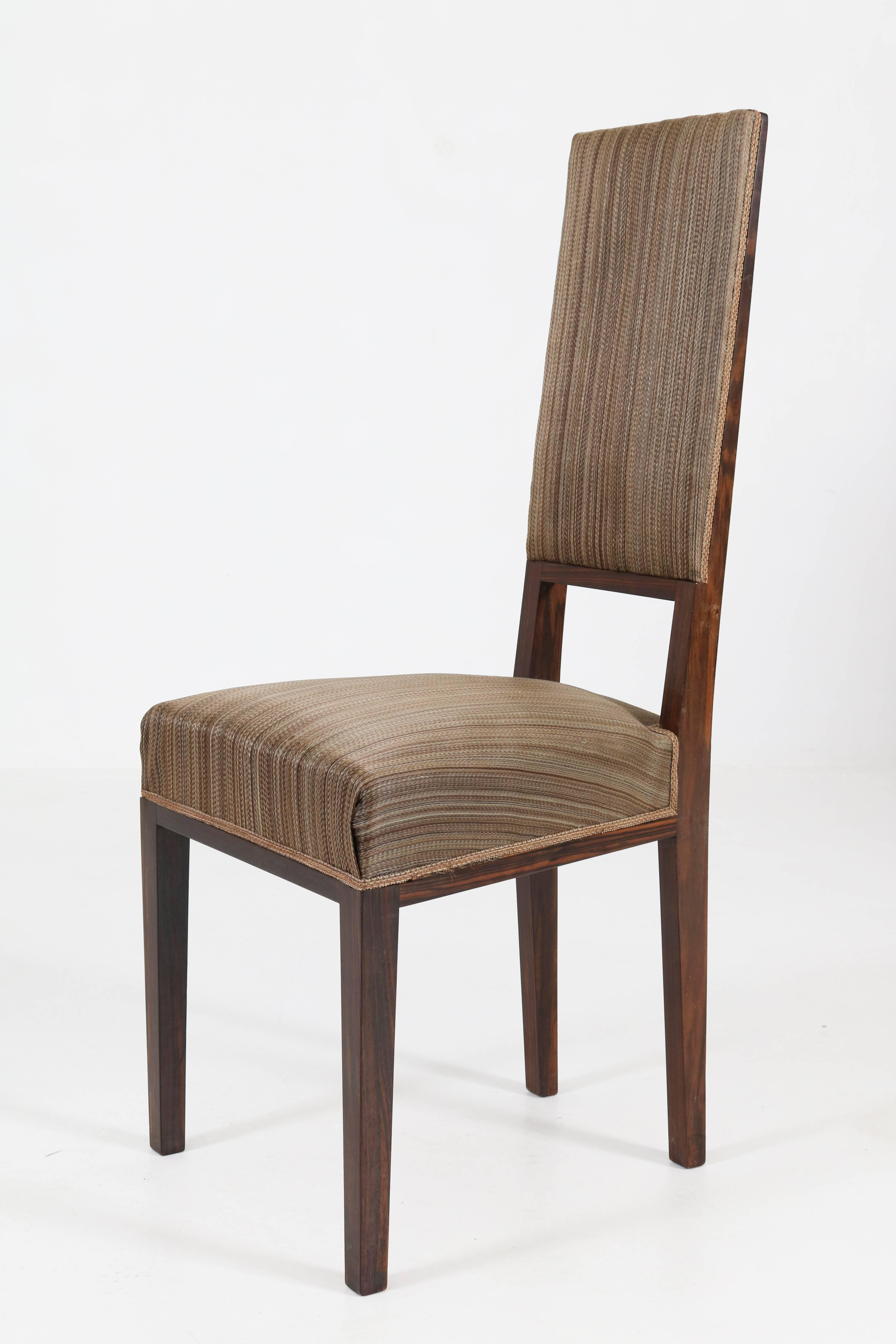 Superieur Eight Macassar Ebony Dutch Art Deco Chairs By U0027t Woonhuys Amsterdam, 1930s  For Sale