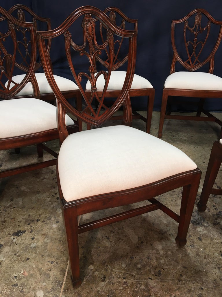 Eight Mahogany Shieldback Dining Chairs by Leighton Hall For Sale 5