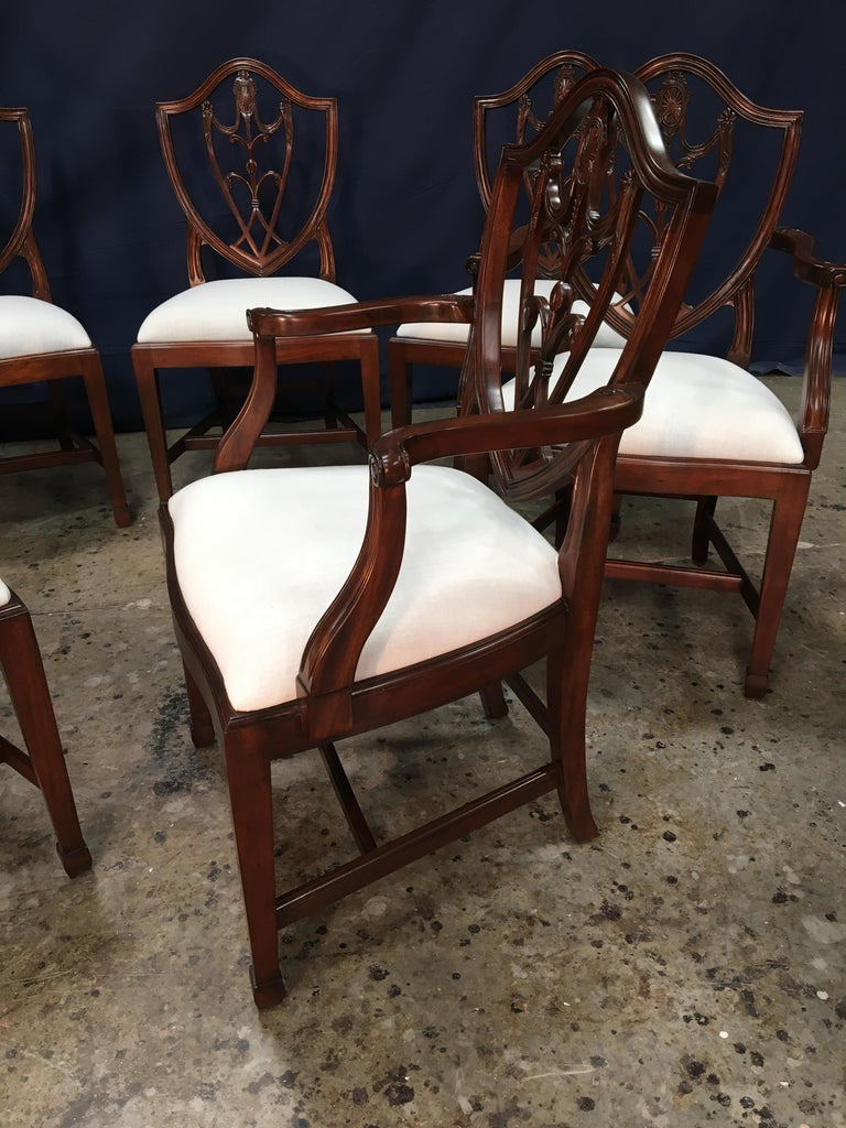 Eight Mahogany Shieldback Dining Chairs by Leighton Hall For Sale 6