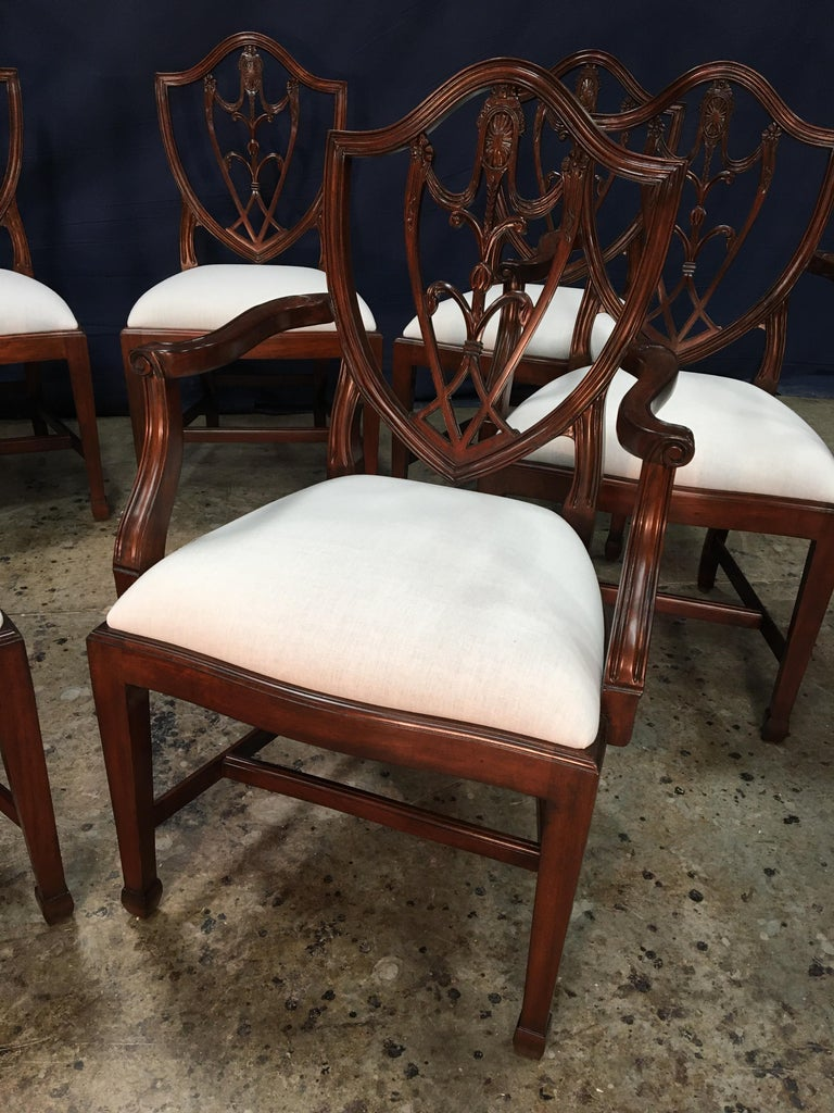 Eight Mahogany Shieldback Dining Chairs by Leighton Hall For Sale 7