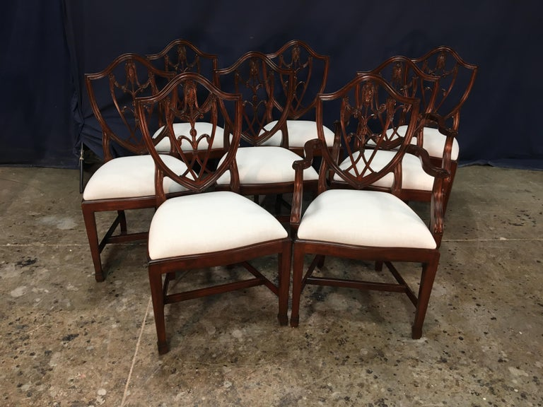 Regency Eight Mahogany Shieldback Dining Chairs by Leighton Hall For Sale
