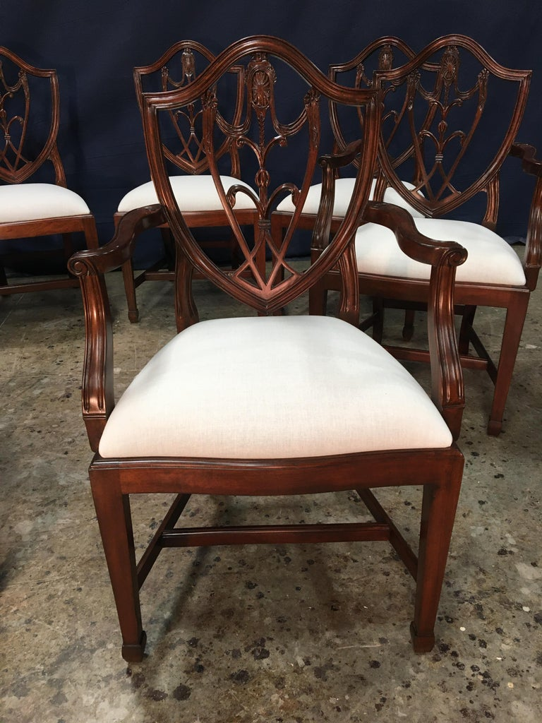 Eight Mahogany Shieldback Dining Chairs by Leighton Hall In New Condition For Sale In Suwanee, GA