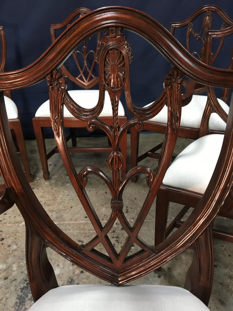 Contemporary Eight Mahogany Shieldback Dining Chairs by Leighton Hall For Sale