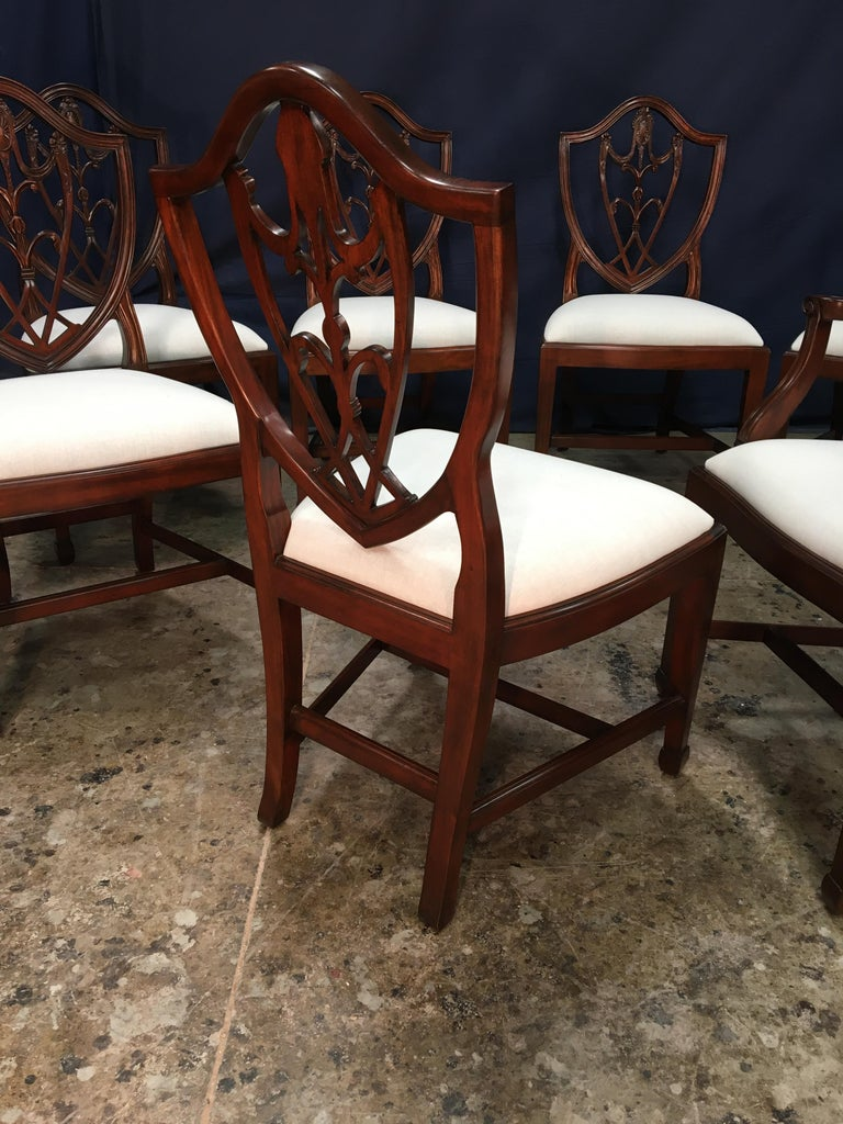 Eight Mahogany Shieldback Dining Chairs by Leighton Hall For Sale 2