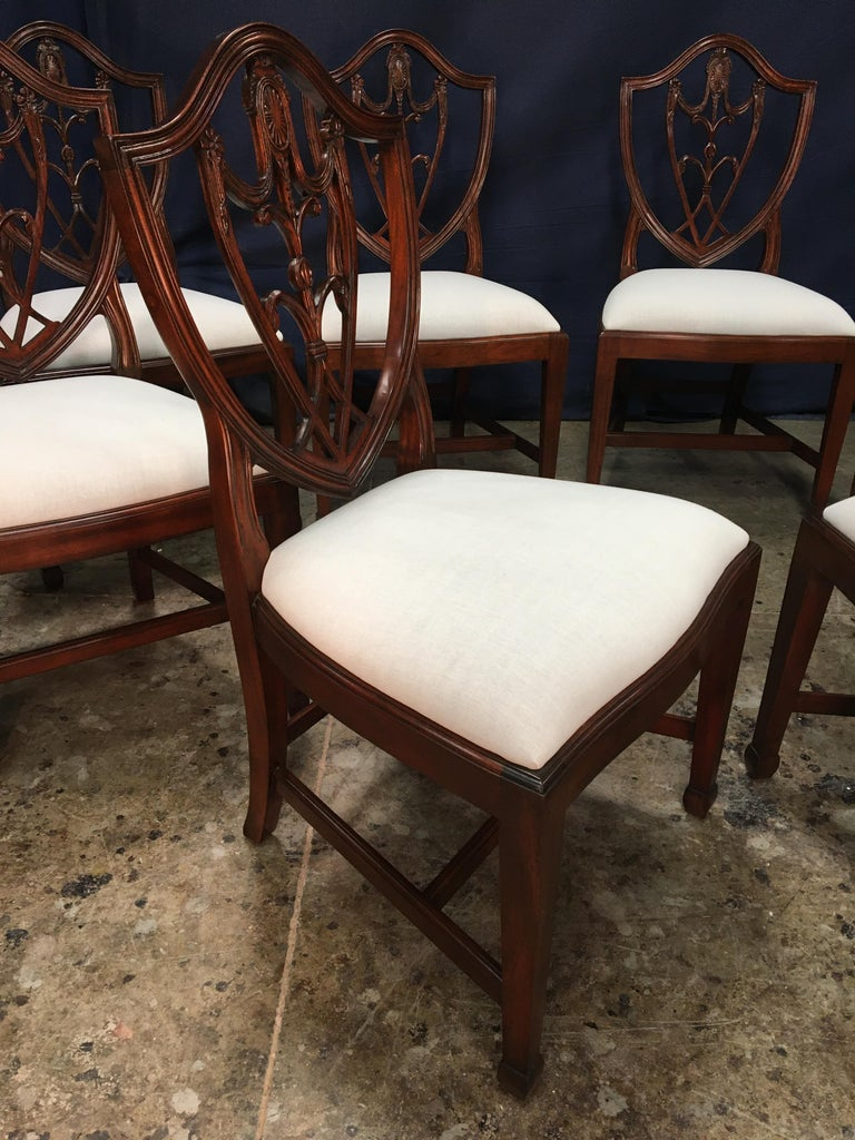 Eight Mahogany Shieldback Dining Chairs by Leighton Hall For Sale 3