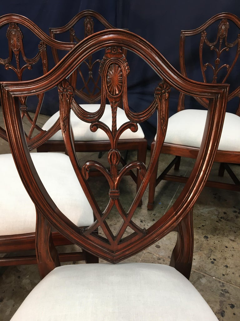 Eight Mahogany Shieldback Dining Chairs by Leighton Hall For Sale 4
