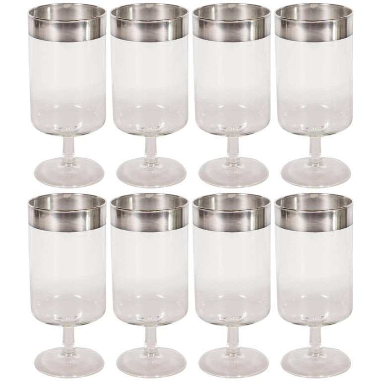 f1039341e23 Eight Midcentury Drinks Glasses with Sterling Silver Overlay by Dorothy  Thorpe For Sale. This refined set ...