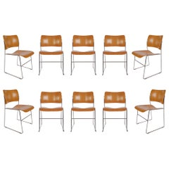 Eight Mid-Century Modern Bentwood Stackable Dining Chairs 40/4 by David Rowland