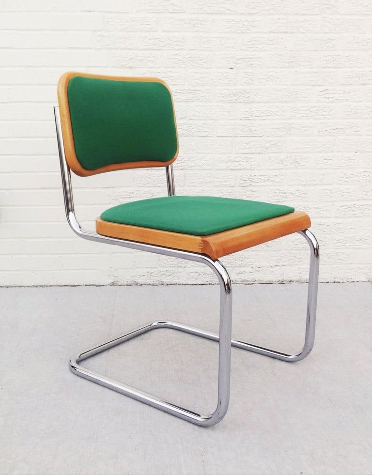 Bauhaus Eight Mid-Century Modern Green Marcel Breuer Cesca Chairs, Made in Italy For Sale