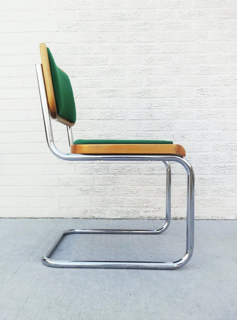 Italian Eight Mid-Century Modern Green Marcel Breuer Cesca Chairs, Made in Italy For Sale