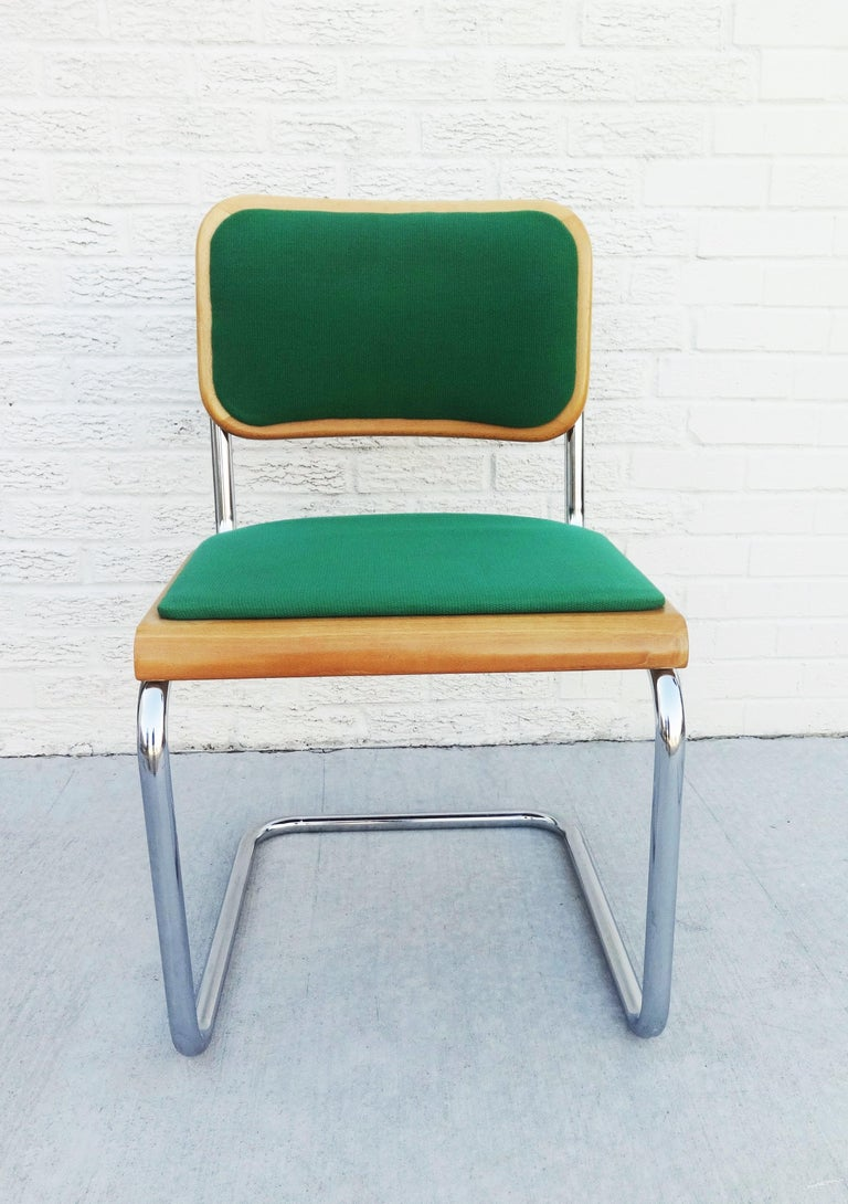 Eight Mid-Century Modern Green Marcel Breuer Cesca Chairs, Made in Italy In Good Condition For Sale In Dallas, TX