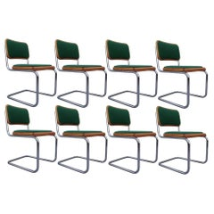 Eight Mid-Century Modern Green Marcel Breuer Cesca Chairs, Made in Italy