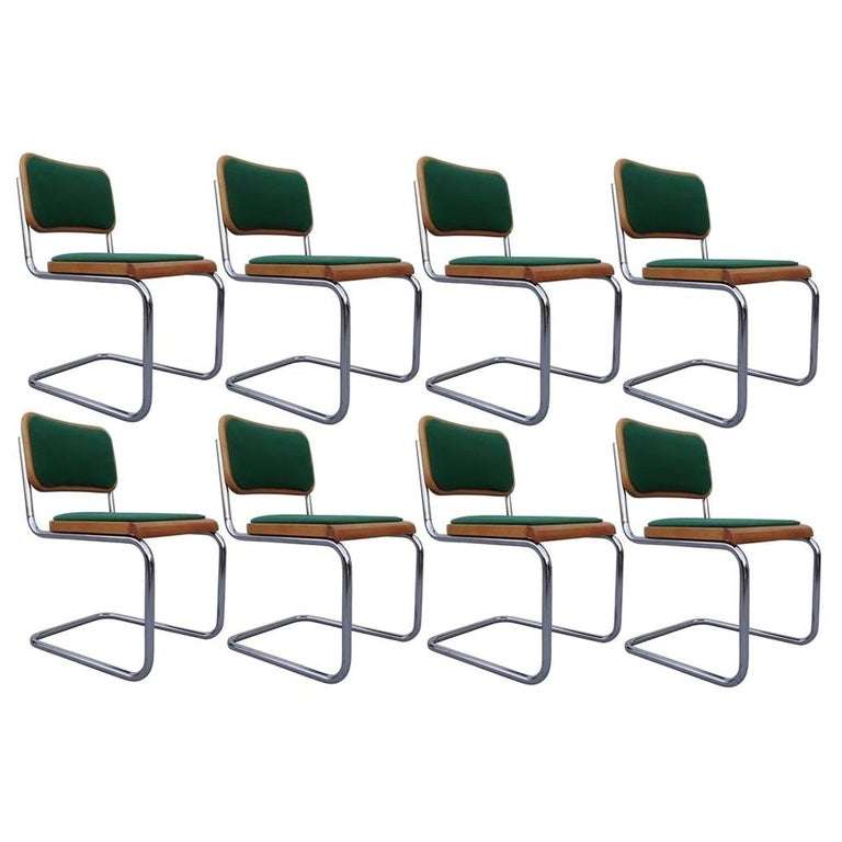 Eight Mid-Century Modern Green Marcel Breuer Cesca Chairs, Made in Italy For Sale