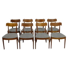 Eight Mid-Century Modern Kipp Stewart Declaration Line Walnut Dining Chairs