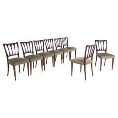 Eight Mid Century Velvet Chairs in the Style of Paolo Buffa in Walnut